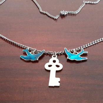 1940s/1950s  silver&enamel blue birds&key necklace - Costume Jewelry