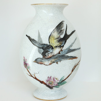 St. Louis Enameled Opaline Vase with Birds and Prunus, c. 1880 - Art Glass