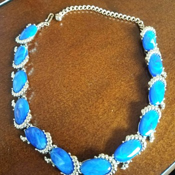 Vintage Silver Tone Oval Blue Faux stones by Kramer - Costume Jewelry