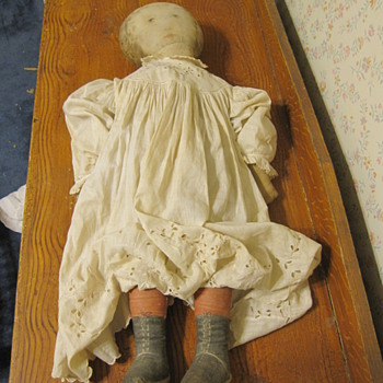 Antique Primative Doll with Face and Hand Made Clothes Folk Art - Folk Art