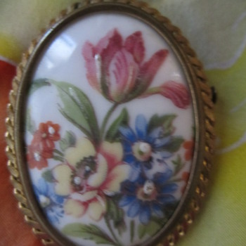 Vintage Pin by Jo Bary, Limoges, France - Costume Jewelry