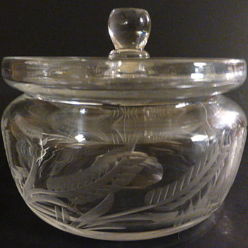Covered cut glass candy dish - Glassware