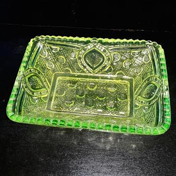 Vaseline Glass EAPG Relish Dish John B Higbee Glass Floral Oval aka Banner Pattern 1909-1918  - Glassware