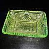 Vaseline Glass EAPG Relish Dish John B Higbee Glass Floral Oval aka Banner Pattern 1909-1918
