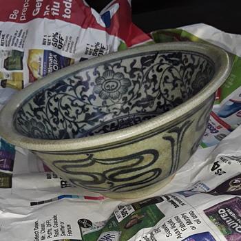 Asian? Stoneware crazing bowl floral design no makers mark - Asian