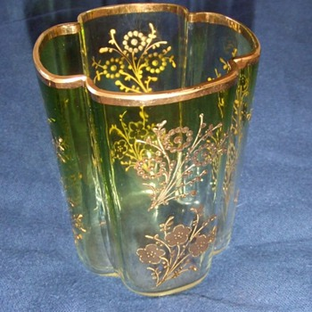 Art glass tumblers with applied gold gilt - Art Glass