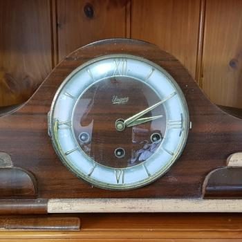 Art Deco Urgos Triple Chime Mantle Clock 1964 - Art Deco