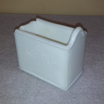 old milk glass NAR-O-FOLD napkin holder (pre-wounded) - Glassware