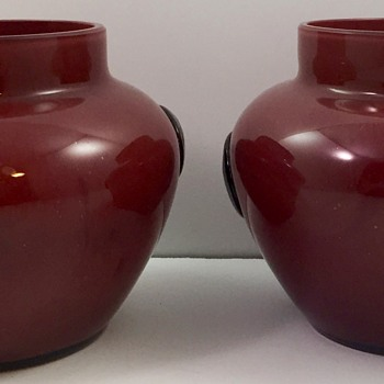 Pair of Oxblood Tango Glass Vases with Black Prunts, ca. 1920s, maker unknown - Art Glass