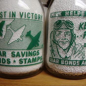 GRAF'S DAIRY...MOBILE, ALABAMA...WAR SLOGAN MILK BOTTLES - Bottles