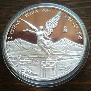 1997 2oz SILVER LIBERTAD PROOF MEXICO COIN