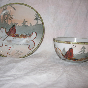 Hand painted cup and saucer from Japan