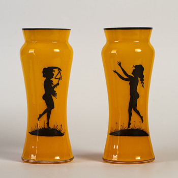 pair of bohemian tango vases - Art Glass