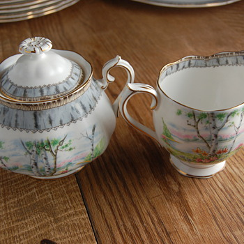 Royal Albert Silver Birch Covered Sugar Bowl and Creamer - China and Dinnerware