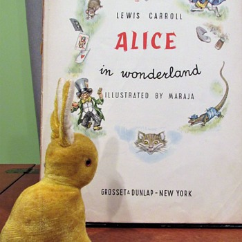 "Yellow Easter Bunny from Occupied Japan and ""Alice In Wonderland"" Book c.1963 - Books"