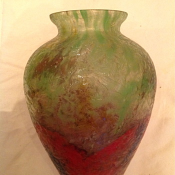 Czech :  Chipped Ice / Glue Chip Green and Red Vase - Art Glass