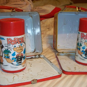 Popeye Metal Lunch Box and Coca Cola bottles - Bottles