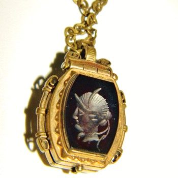 Antique Victorian Hardstone Inaglio & Tigers Eye Double Locket Fob Necklace - Fine Jewelry