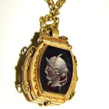 Antique Victorian Hardstone Inaglio & Tigers Eye Double Locket Fob Necklace