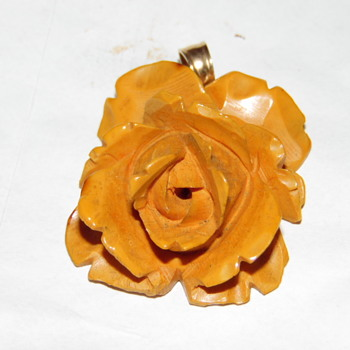 Vintage Taiwanese Natural Salmon Coral Carved Rose  Pendant 14k Hook - Fine Jewelry