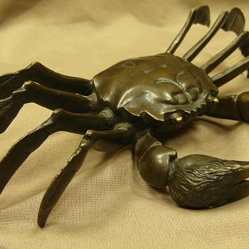 Japanese Antique Okimono Crab. Bronze