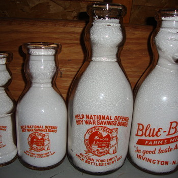 Cop the Cream / War Slogan Milk Bottle......Blue Bell Farms Milk - Bottles