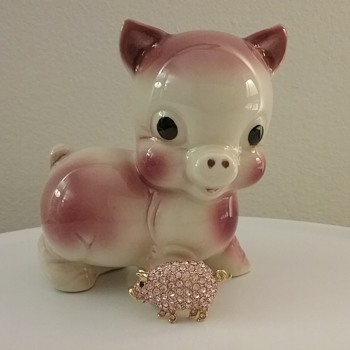Trifari pink pig brooch, Rempel Diamond ceramic pig  - Costume Jewelry