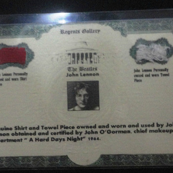 John Lennon shirt and towel piece-1964 - Music Memorabilia