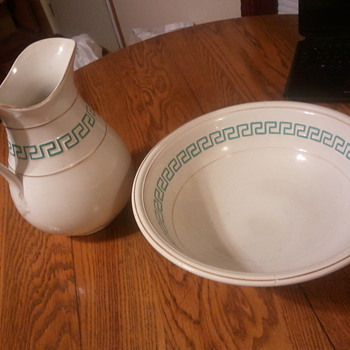 1874 Bath/Laundry Pitcher and Bowl (Ceramic) - China and Dinnerware