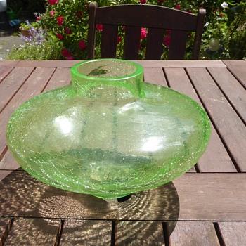 Large Uranium Crackle Glass - Glassware