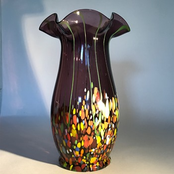 Czech Bohemian Purple Vase with Spatter and threads - Art Glass