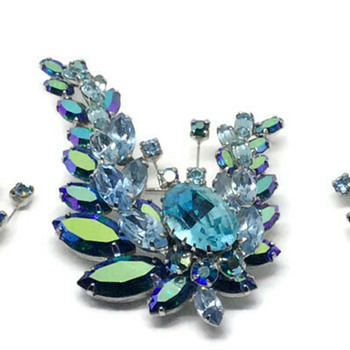 Three shades of Blue Sherman Brooch & Earrings - Costume Jewelry