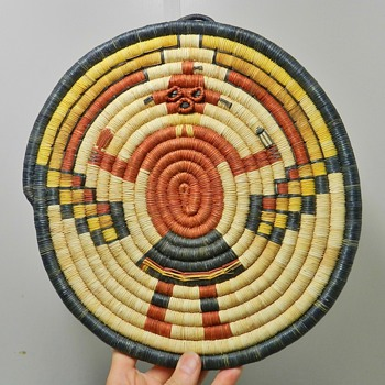 1970's Hopi Woven Plaque - Kachina Motif - Native American