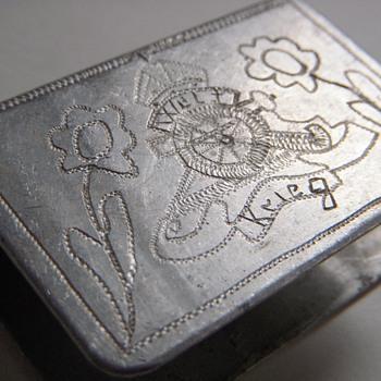 Trench Art Matchbox Holder~'WELT KREIG'~WW1 Handworked Aluminum