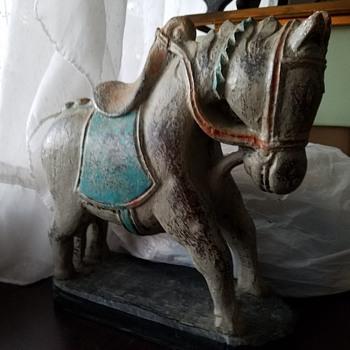 "Chinese Tang Horse Statue? Stone Heavy 10"" tall Tri color, aqua, orange, white over worn dark brown body  - Asian"