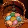 Vintage Easter Basket With Easter Eggs