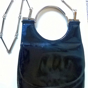 Unusual Chrome & Patent Leather Hand/Shoulder Bag Thrift Shop Find 1 Euro ($1.07) - Accessories