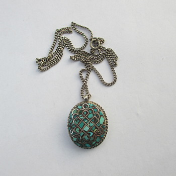 Silver pendant with inlay - Fine Jewelry