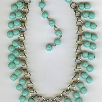Glass or Turquoise? Vintage Book Chain Necklace - Costume Jewelry