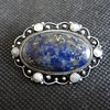 Pretty lapis lazuli and mother of pearl silver brooch c. 1900
