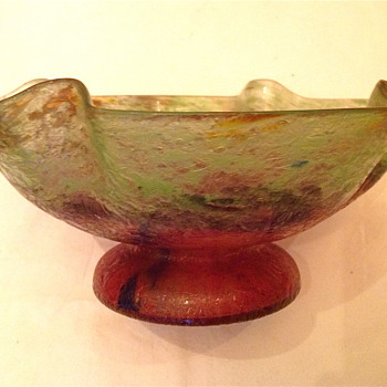 Czech :  Chipped Ice / Glue Chip Green and Red Ruffled Compote - Art Glass