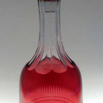 Cranberry Cased Cut To Clear Decanter and Wine Glass. - Glassware
