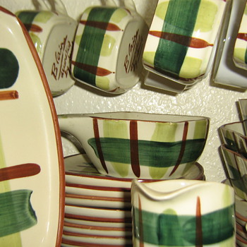 "Blair ceramics circa1949 ""Gay Plaid"" square set - China and Dinnerware"