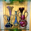 Bohemian Fantasy in Bronze and Pewter Handled Iridescent Vases
