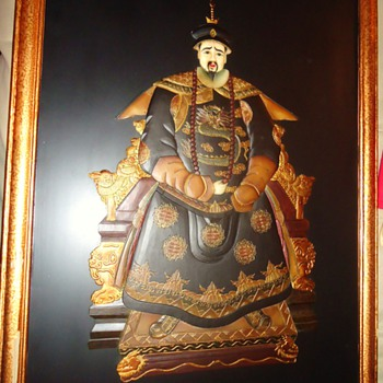 Emperor and Empress of China, stones on lacquered board, 3 Ft. X 2 Ft., large and heavy - Asian