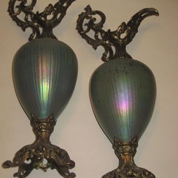 Loetz ? pair urns/pitchers ? - Art Glass