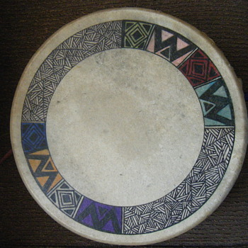 NATIVE AMERICAN DEER SKIN DRUM HAND PAINTED - Native American