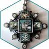 Antique Roman Micro Mosaic cross pendant set in silver, 19th century