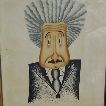 1932 Comic Art Portrait of Albert Einstein by Haworth   - Art Deco