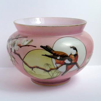 Baccarat Pink Japonisme Birds and Moon Opaline Vase, c. 1880